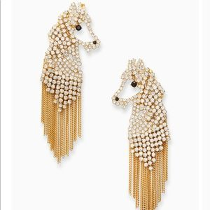 NWT Kate spade pony gold tassels earrings